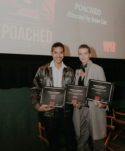"The team of ""Poached"" at the IndieX November live screening in Hollywood"